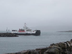 ferry coming in past wall